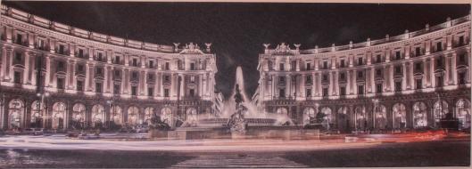 Roma, veduta notturna di Piazza della Repubblica, olio (o acrilico) su tela